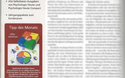 "play-emotion Tipp des Monats in ""Psychologie Heute"""